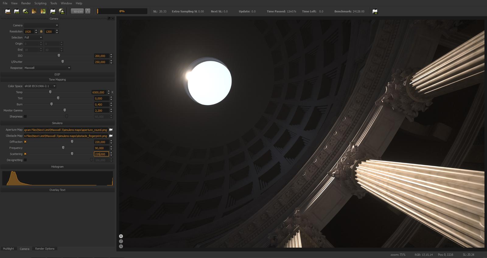 realistic lens diffraction effect