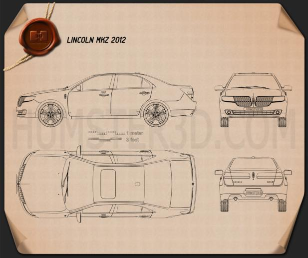 Lincoln MKZ 2012 Blueprint 3d model