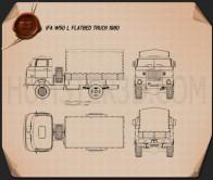 IFA W50 L Flatbed Truck 1980 Blueprint