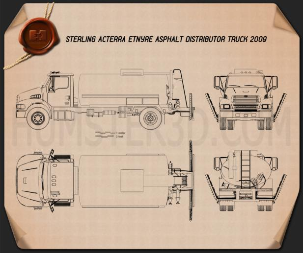 Sterling Acterra Etnyre Asphalt Distributor Truck 2009 Blueprint