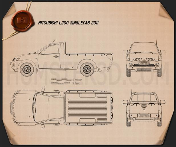 Mitsubishi L200 Triton Single Cab 2011 Blueprint