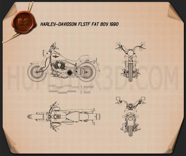 Harley-Davidson FLSTF Fat Boy 1990 Blueprint