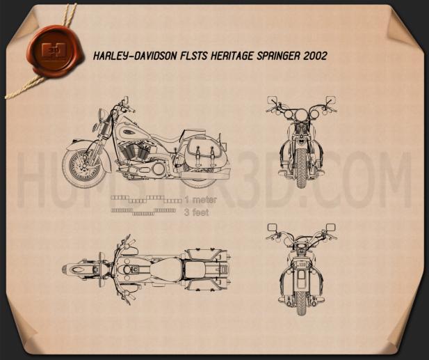 Harley-Davidson FLSTS Heritage Springer 2002 Blueprint