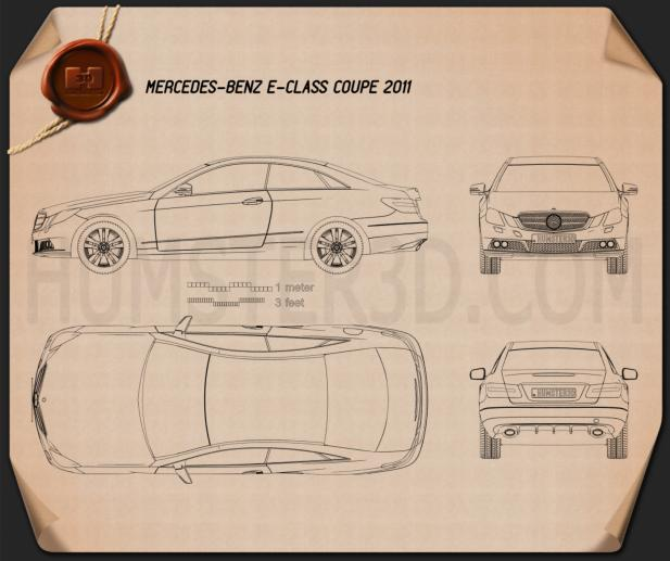 Mercedes-Benz E-Class coupe 2011 Blueprint