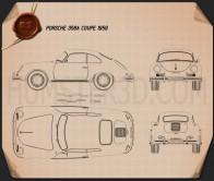 Porsche 356A coupe 1959 Blueprint