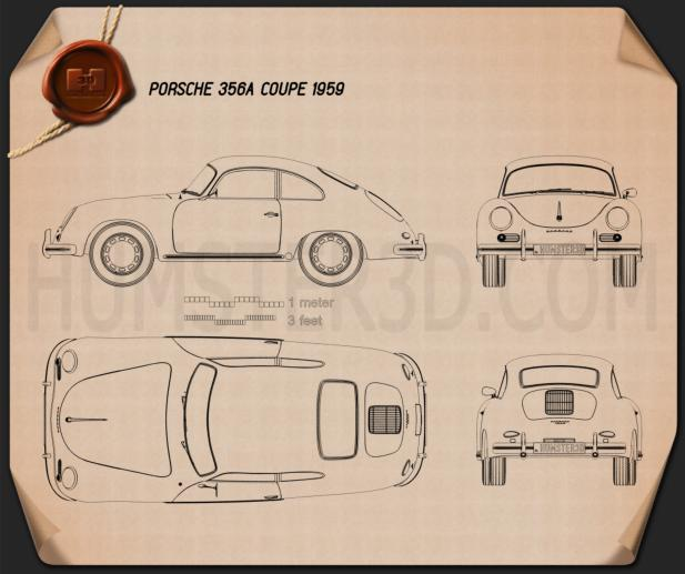 Porsche 356A coupe 1959 Blueprint