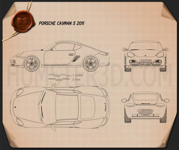 Porsche Cayman S 2011 Blueprint