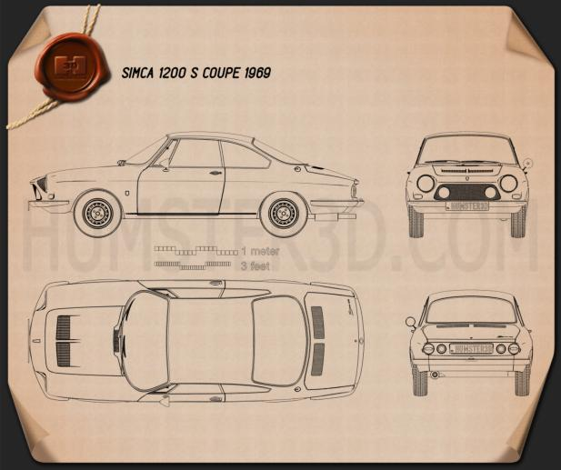 Simca 1200 S coupe 1969 Blueprint