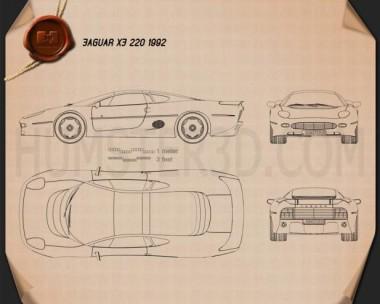 Jaguar XJ220 1992 Blueprint