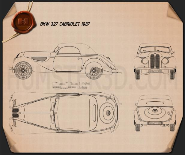 Bmw 327 cabriolet 1937 blueprint hum3d bmw 327 cabriolet 1937 blueprint malvernweather Image collections