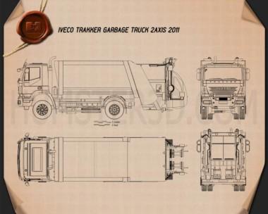 Iveco Trakker Garbage Truck 2012 Blueprint