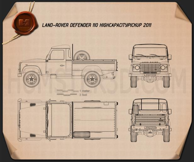 Land Rover Defender 110 High Capacity Pickup 2011 Blueprint