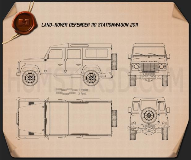 Land Rover Defender 110 Station Wagon 2011 Blueprint