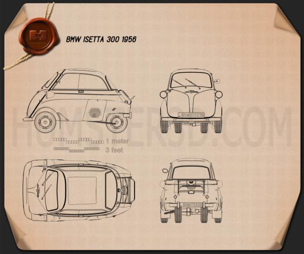 BMW Isetta 300 1956 Blueprint