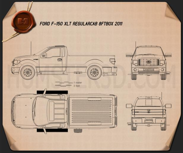 Ford F-150 XLT Regular Cab 8-foot Box 2011 Blueprint