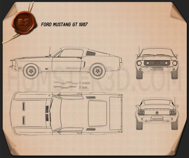 Ford Mustang GT 1967 Blueprint