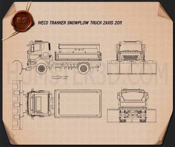 Iveco Trakker Snow Plow Truck 2012 Blueprint