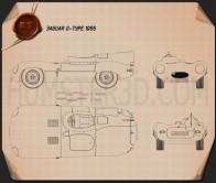 Jaguar D-Type 1955 Blueprint