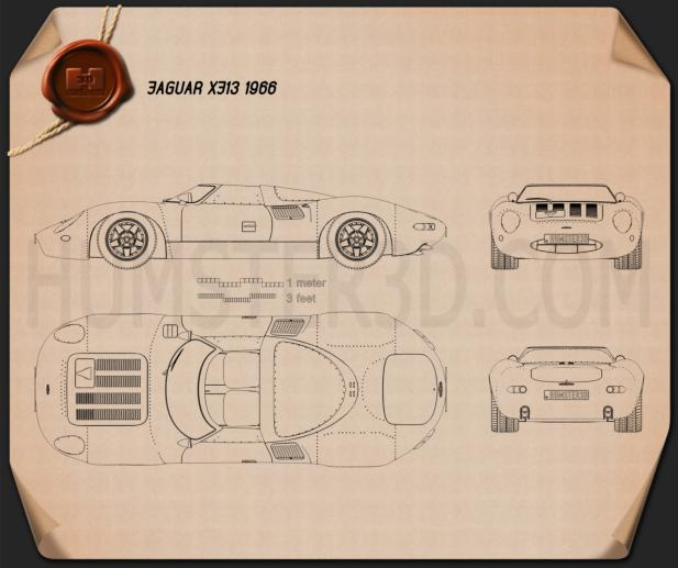 Jaguar XJ13 1966 Blueprint