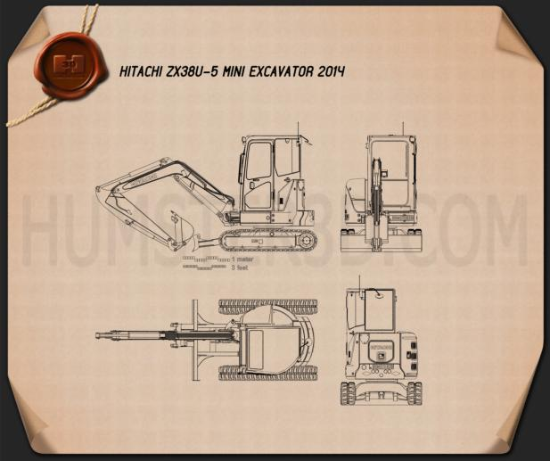 Hitachi ZX38U-5 Mini Excavator 2014 Blueprint