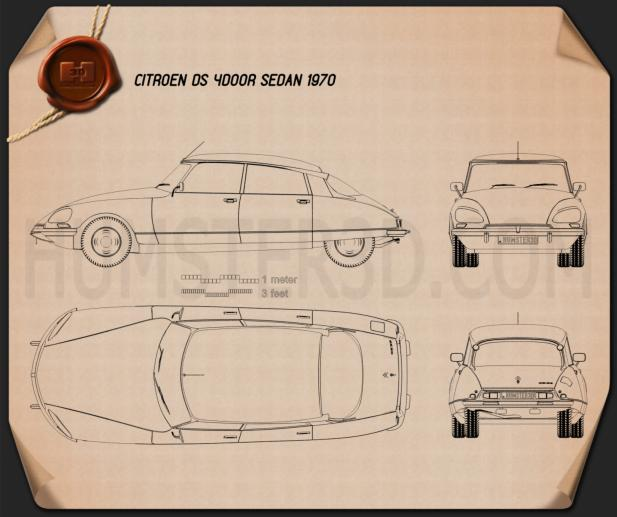 Citroen DS 4-door Sedan 1970 Blueprint