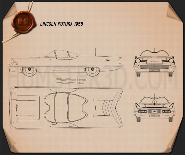 Lincoln Futura 1955 Blueprint