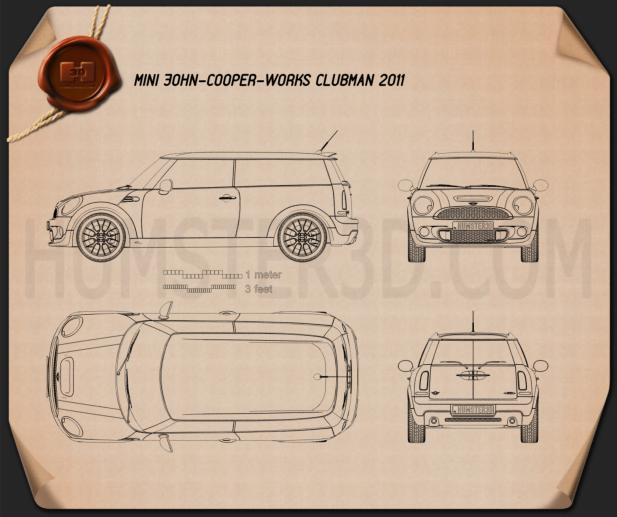 Mini John Cooper Works Clubman 2011 Blueprint