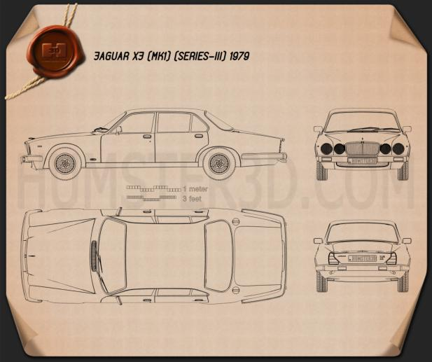 Jaguar XJ (Series 3) 1979 Blueprint