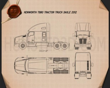 Kenworth T680 Tractor Truck 3-axle 2012 Blueprint