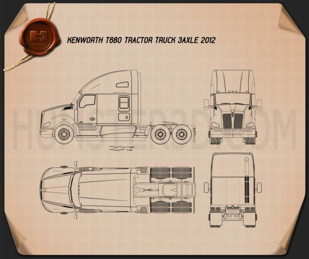 Kenworth T680 Tractor Truck 3-axle 2012 Blueprint