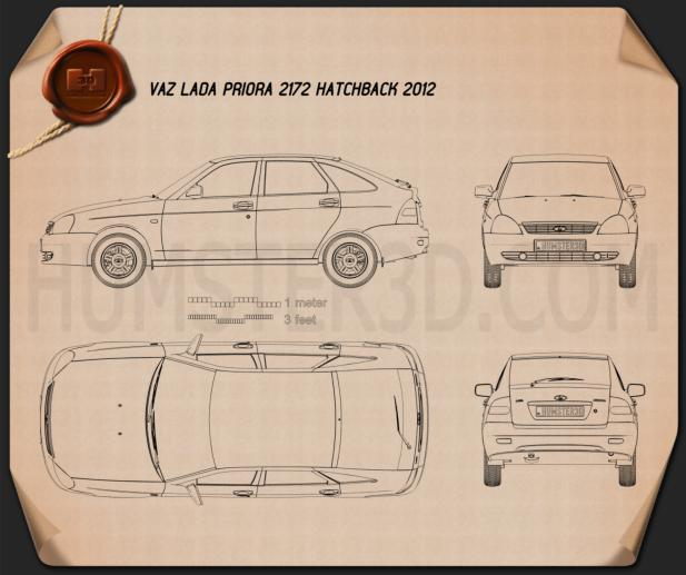 Lada Priora 2172 hatchback 2012 Blueprint