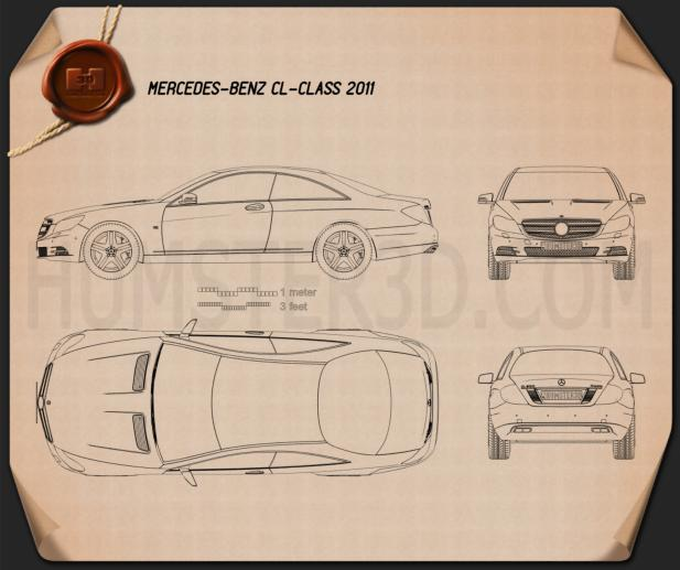 Mercedes-Benz CL-Class W216 2011 Blueprint