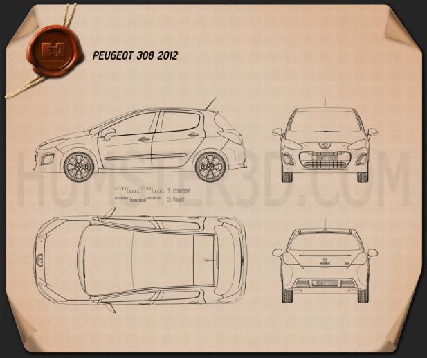 Peugeot 308 2012 Blueprint