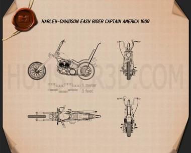 Harley-Davidson Easy Rider Captain America 1969 Blueprint