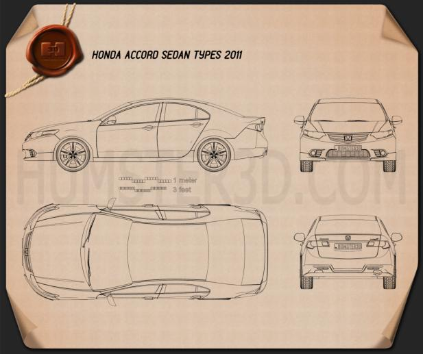 Honda Accord Sedan Type S 2011 Blueprint