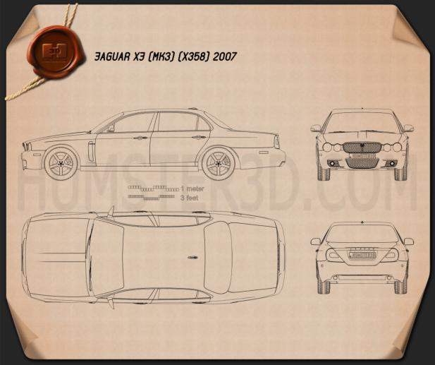 Jaguar XJ (X358) 2007 Blueprint