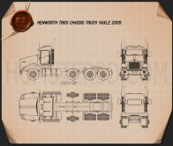 Kenworth T800 Chassis Truck 4-axle 2005 Blueprint