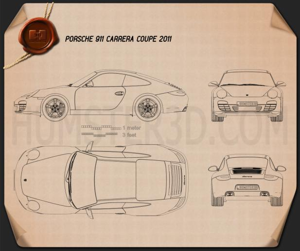 Porsche 911 Carrera Coupe 2011 Blueprint