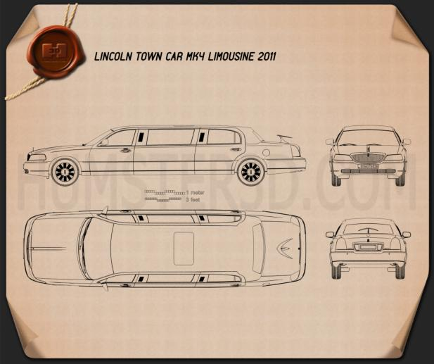 Lincoln Town Car Limousine 2011 Blueprint
