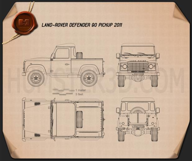 Land Rover Defender 90 pickup 2011 Blueprint