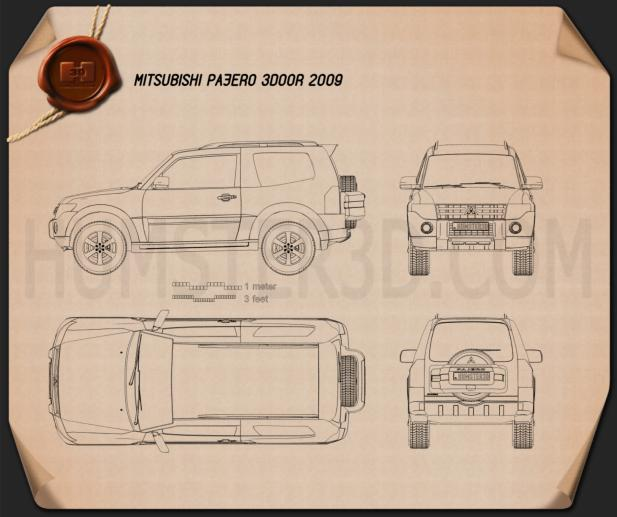 Mitsubishi Pajero 3-door 2009 Blueprint