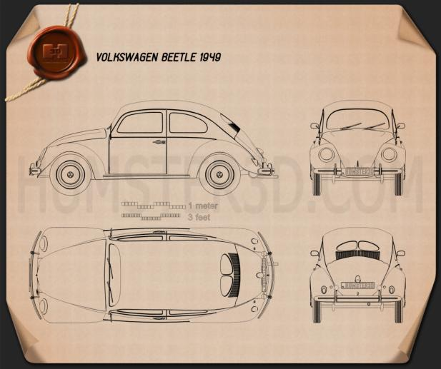 Volkswagen Beetle 1949 Blueprint 3d model
