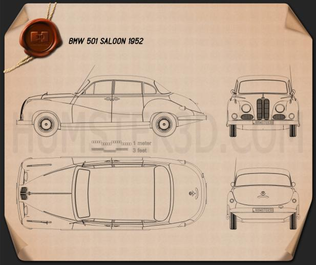 BMW 501 Saloon 1952 Blueprint