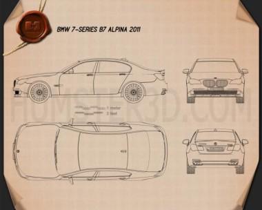 BMW 7 Series B7 Alpina 2011 Blueprint