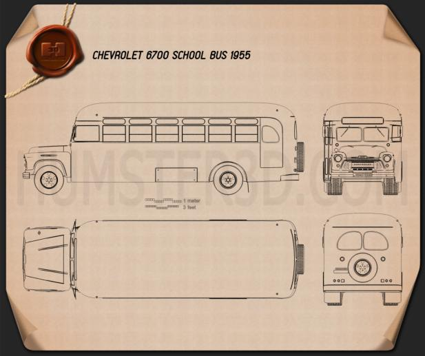 Chevrolet 6700 School Bus 1955 Blueprint