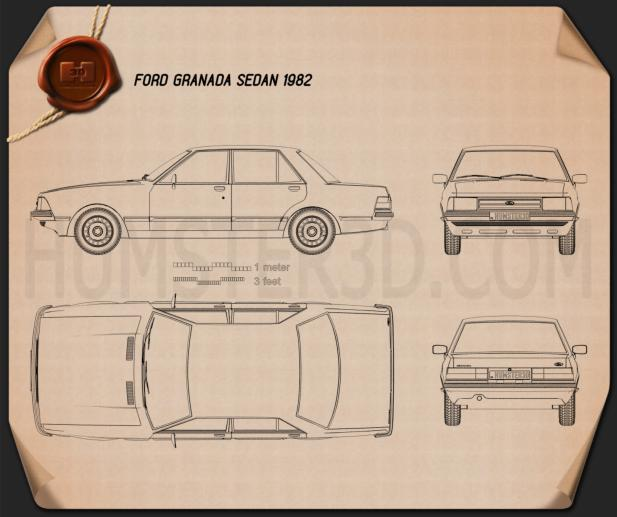 Ford Granada Sedan 1982 Blueprint