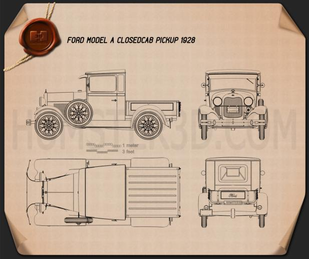 Ford Model A Pickup Closed Cab 1928 Blueprint