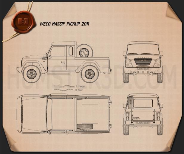 Iveco Massif pickup 2011 Blueprint