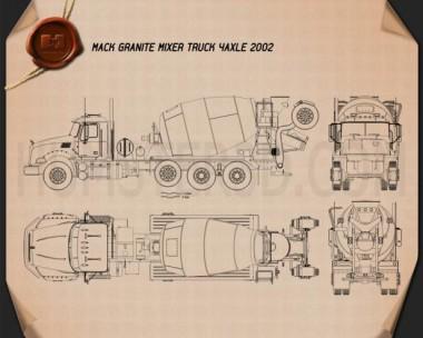 Mack Granite Mixer Truck 2002 Blueprint