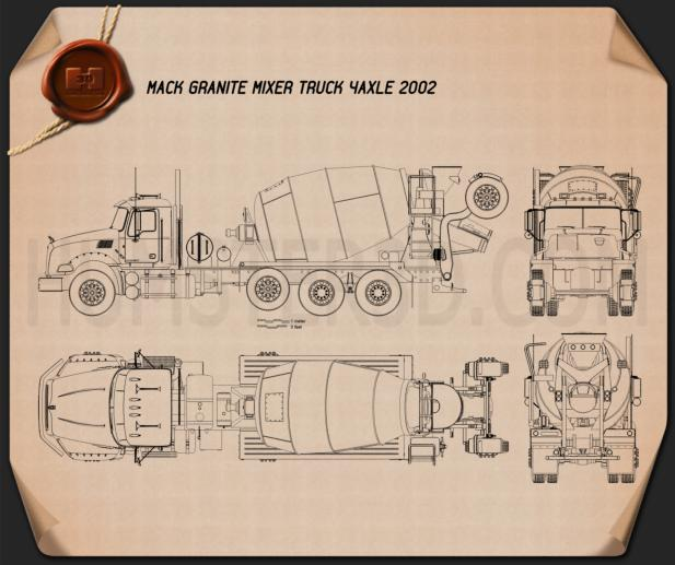 Mack Granite Mixer Truck 2002 Blueprint